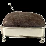 Charming English Silver plated Pin Cushion.  C.1920