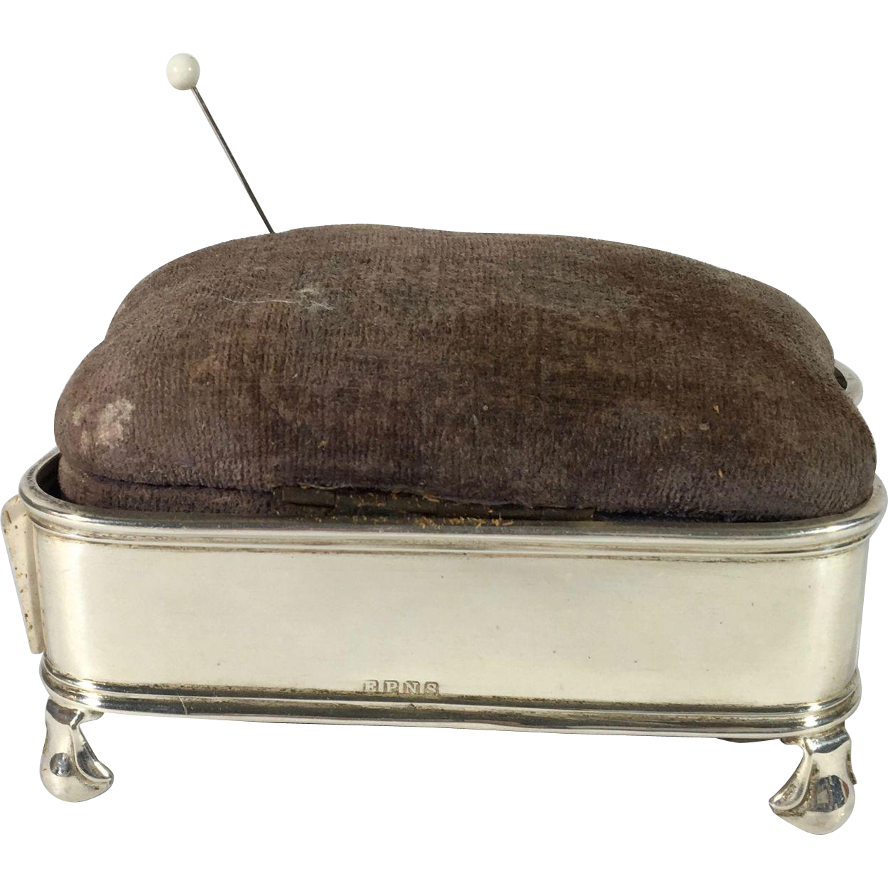 Charming English Silver plated Pin Cushion.  C.1920