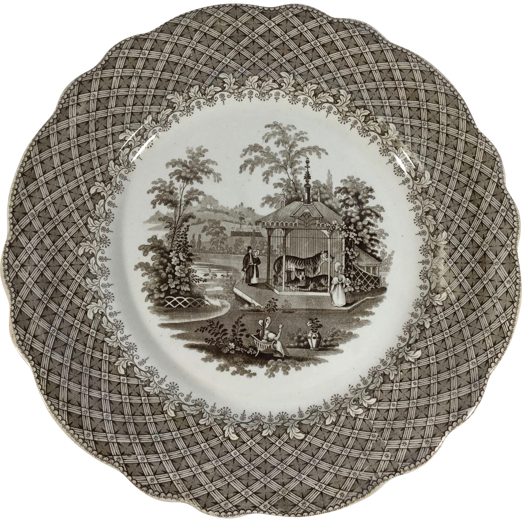 1835 Brown Transfer Ware Dinner Plate, Pattern 'Zoological'