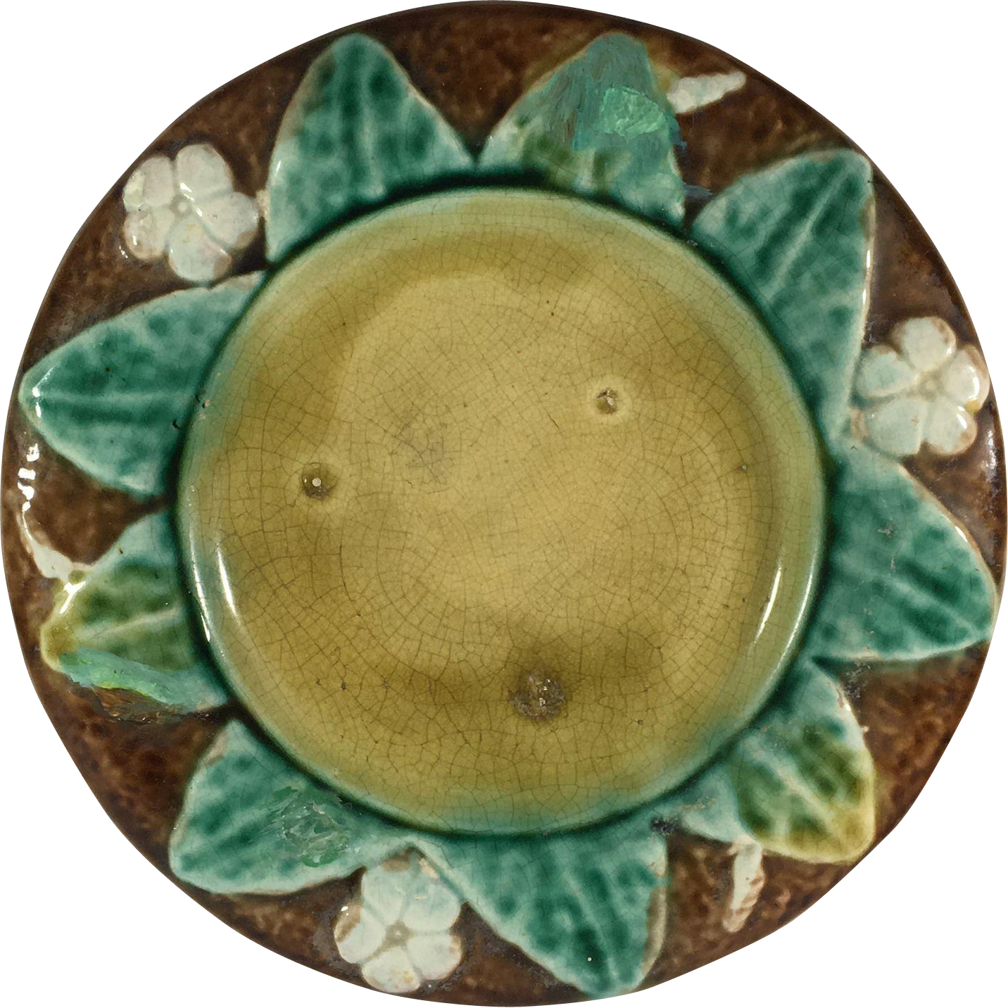 Majolica Sunflower and Dogwood Molded Plate