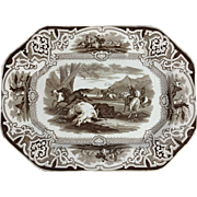 C. 1860. Brown and White Transfer Ware Platter, Pattern Name 'Lasso', by W. Barker & Co.