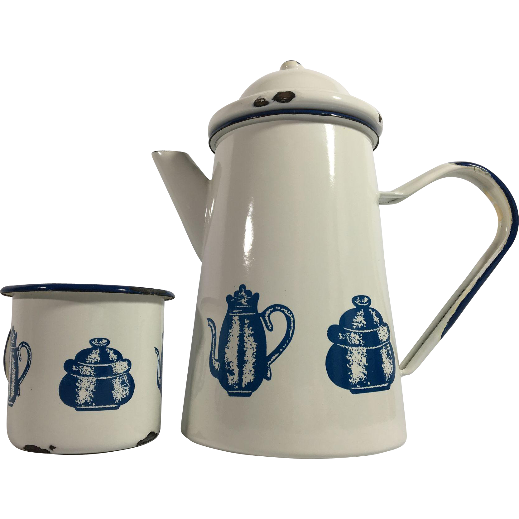 Enamelware French Coffee Pot and Cup