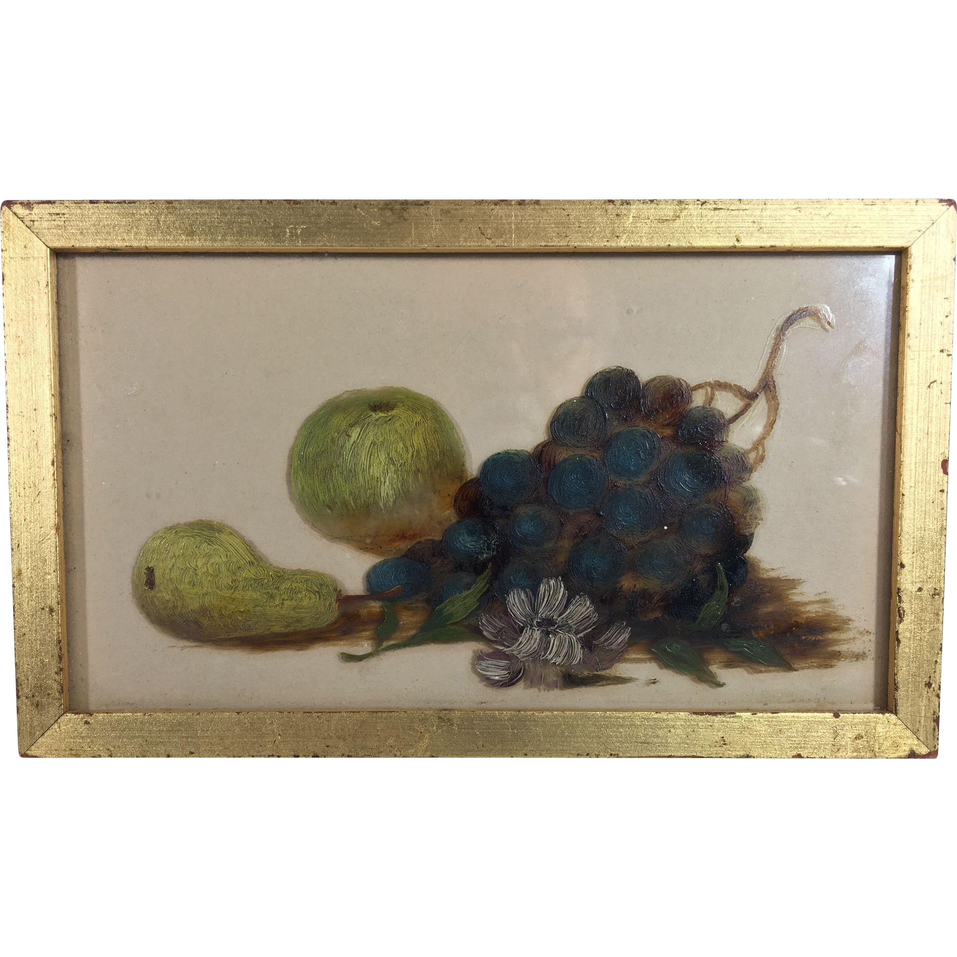 Still Life of Fruit Painted on Glass
