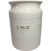 English White Ironstone Rice Container