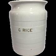 English White Ironstone Rice Container