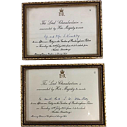 Pair of Queen Elizabeth Garden Party Invitations,  1957 and  1961