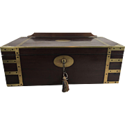 George III Brass Bound and Reinforced Mahogany Campaign Chest and Lectern Writing Slope, Completely Fitted