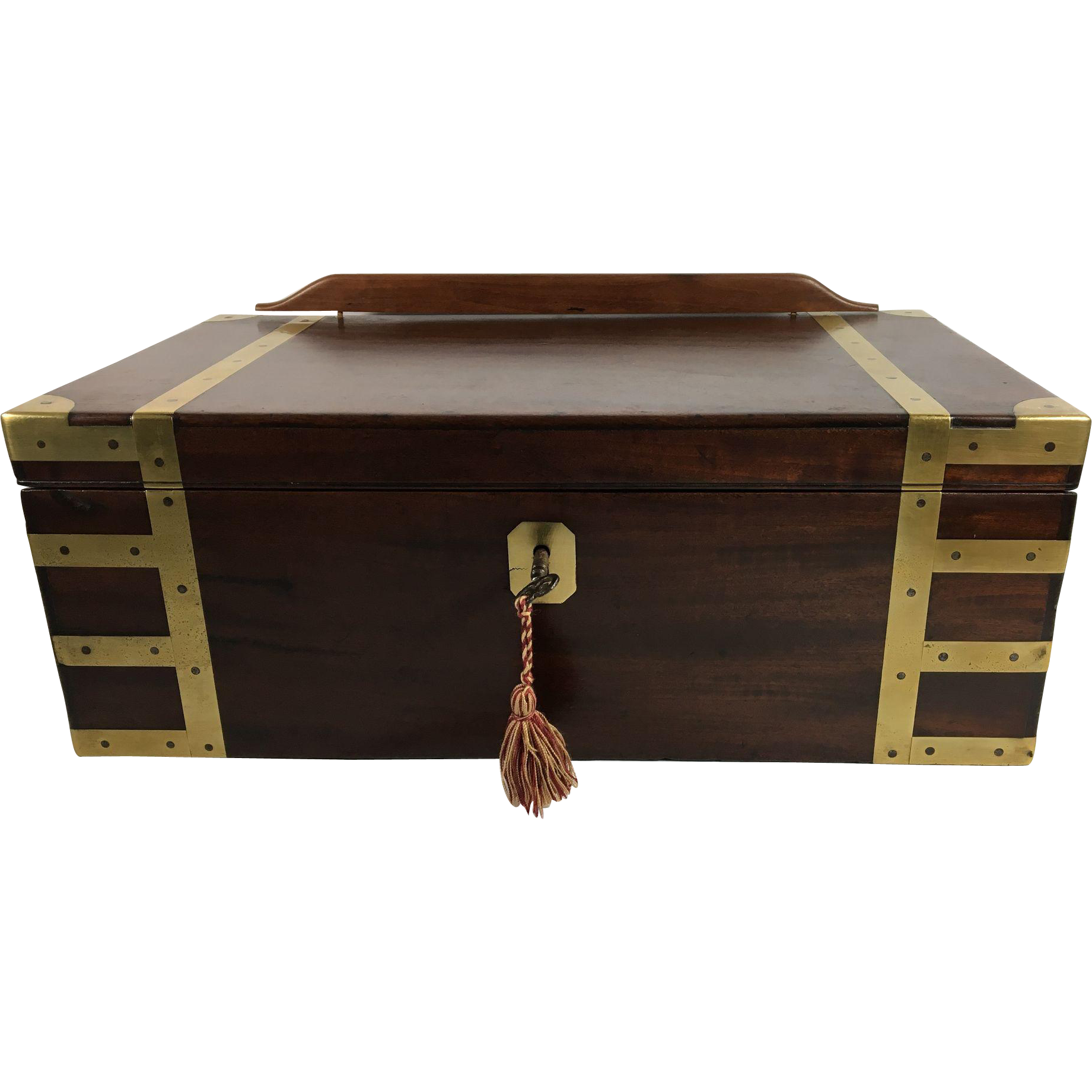 George III Sea Captains Campaign Chest, Lectern and Writing Slope in Mahogany, Brass Banded & Reinforced Fully Fitted