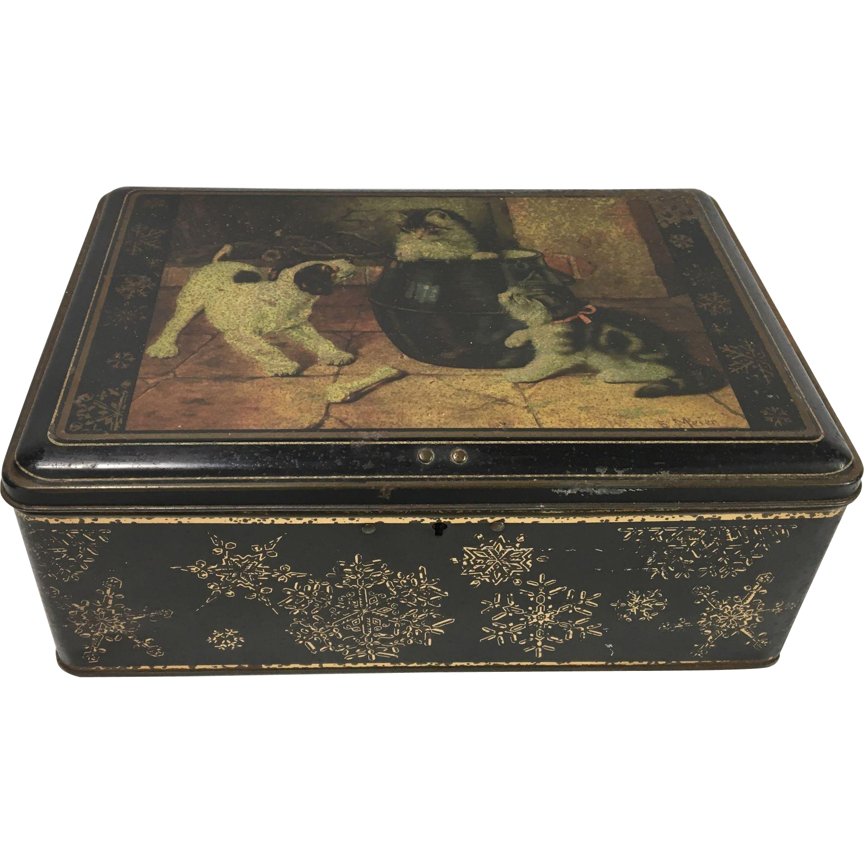 C. 1900 Art Nouveau Tin Biscuit Box, Painting of Puppy & Kittens by E. Meier