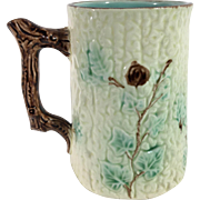 Majolica Mug with Wild Roses and Ivy Design