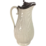 English Stoneware Jug, Pewter Lid, c. 1861