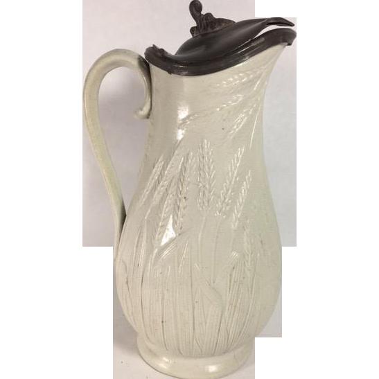English Stoneware Jug, Pewter Lid, c. 1861