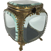 French Beveled Glass Jewelry Casket, C. 1900
