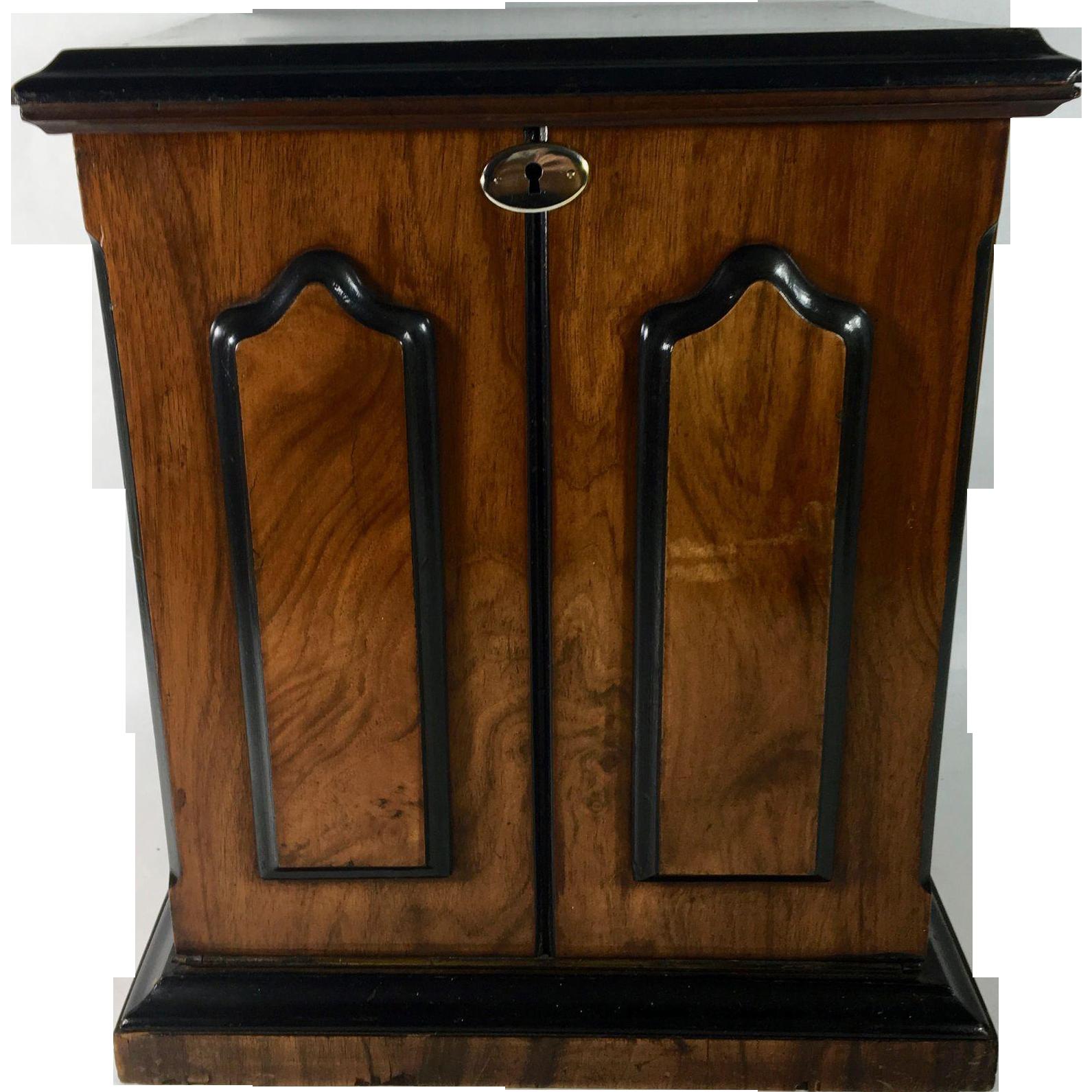 English Rosewood & Satinwood Combination Stationary Cabinet & Writing Slope