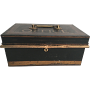 English Toleware Black and Gold Box Office Cash Box