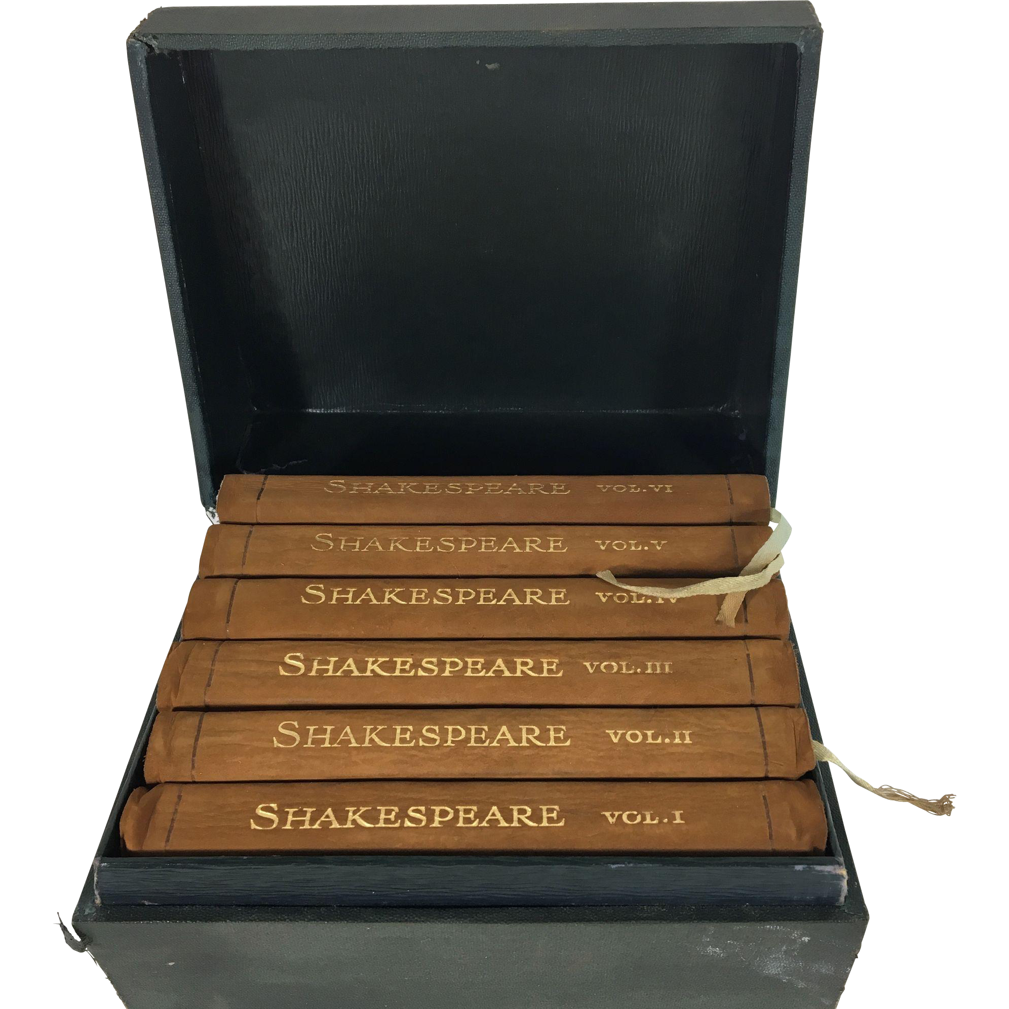 "The Bijou Shakespeare: The Complete Works of William Shakespeare in Six Volumes, Suede Covers, Original Boxed Set, 3"" x 5 1/8"""