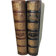 Shakespeare, William, The Works. Imperial Edition Ed. by Charles Knight with Illustrations on Steel, Two Leather Bound Volumes Complete, Oversized Edition