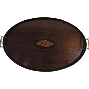 English Mahogany Salver Gallery Tray, Inlaid Shell Medallion