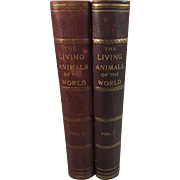 Living Animals of the World, Popular Natural History, Two Volumes, Leather Bound, More than 1200 Illustrations