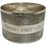 "English Sterling Silver Napkin Ring, Engraved ""Annie 1922- 1947"""