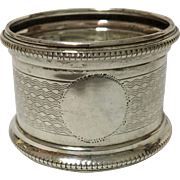 English Sterling Silver Napkin Ring, Vacant Cartouche, Hallmarked, R.B., Birmingham, 1957