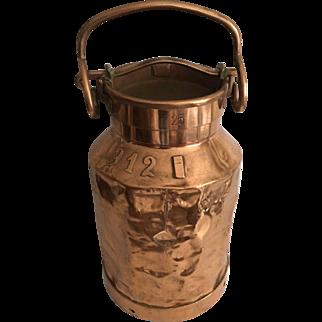 Antique English Country Copper Farm Milk Can Jug