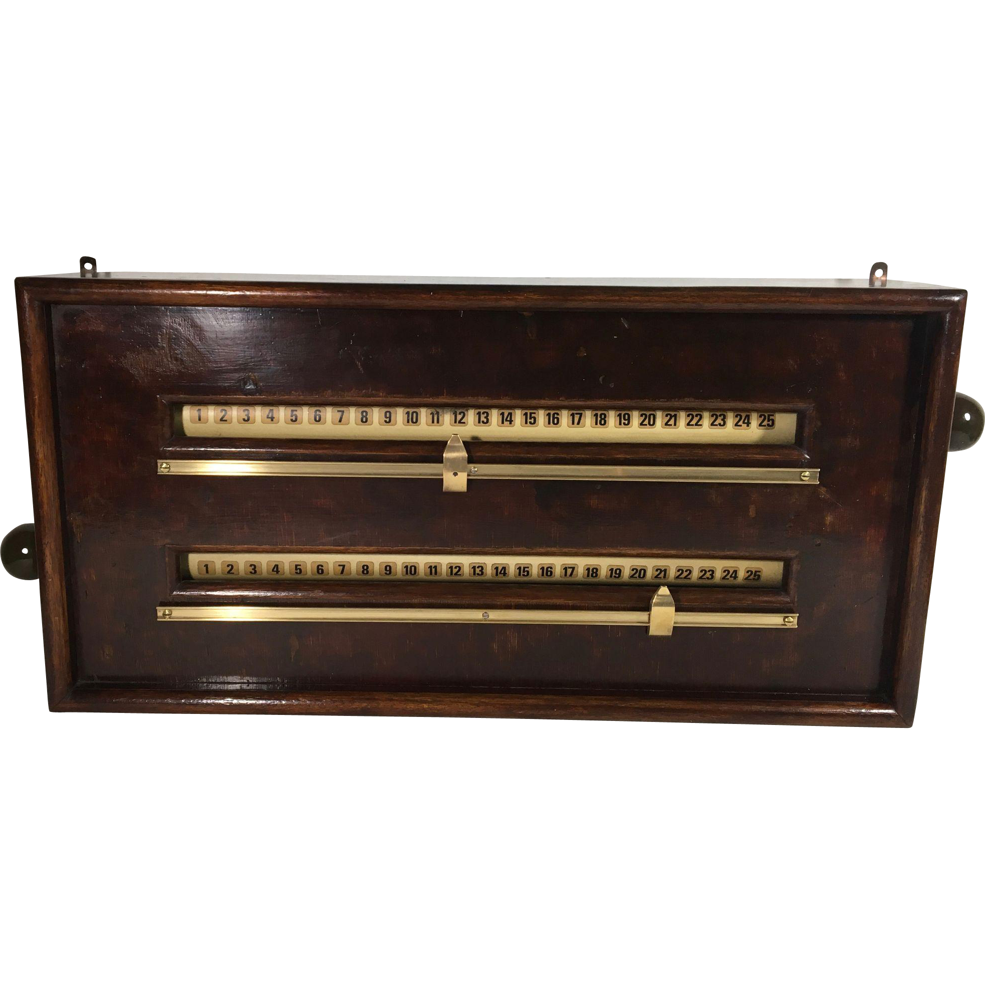 Antique Rollerboard Snooker Scoreboard Made of Mahogany and Brass