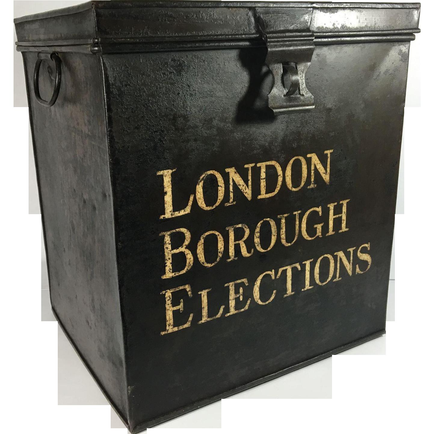 Tole Painted Metal Ballot Box, London Borough Elections