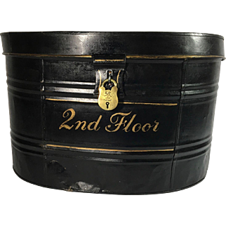 Tole Painted Metal English Hat Box