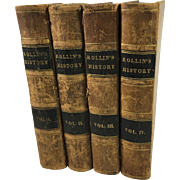 Ancient History by Charles Rollin Complete in 4 Leather Bound Volumes, 1845