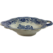 English Blue Transfer Ware Pickle Dish /Leaf Shape /Handle,  c.1840