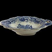 English Blue Transfer Ware Pickle Dish /Leaf Shape /Handle,  c.1840