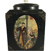 19th c. English Toleware Tea Storage Tin