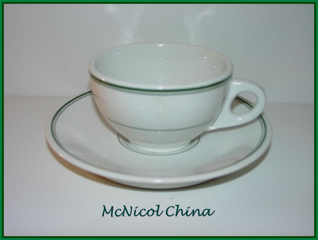 McNicol China Green Line & Band Cup & Saucer