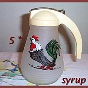 Hazel Atlas Gay Fad Rooster Syrup Pitcher