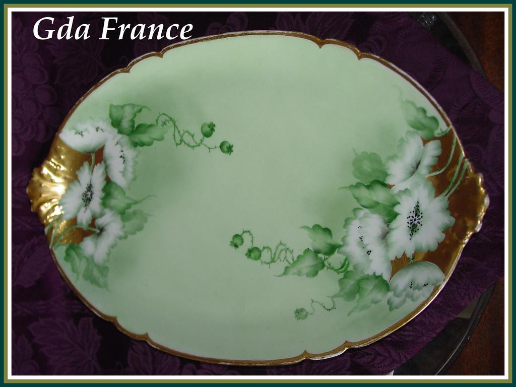 GDA France Limoges Hand Painted Floral Platter