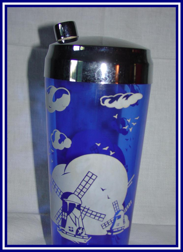 Hazel Atlas Windmill Blue Cocktail Shaker
