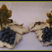 Pair Tuscan Grapes & Vine Pottery Candle Holders