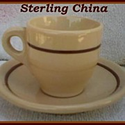 Sterling China Desert Tan Demitasse Cup & Saucer