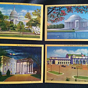 Vintage Curteich Washington DC Historical Postards Set of 4