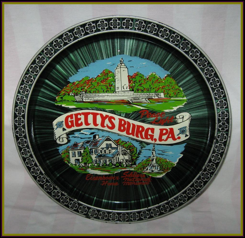 Vintage Collectible Black Gettysburg Souvenir Tray