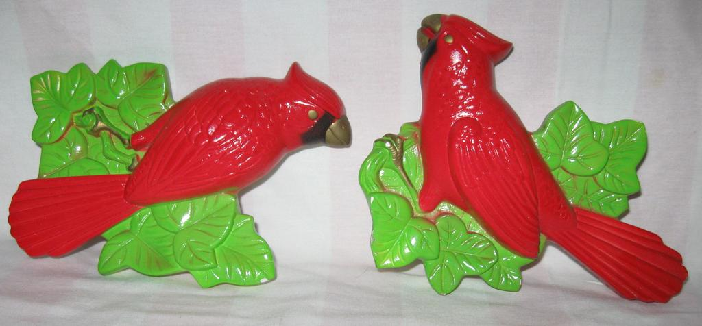 Miller Studios Chalkware Pair of Red Cardinals ~ 1972