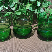 Vintage Anchor Hocking Forest Green Juice Glass Set