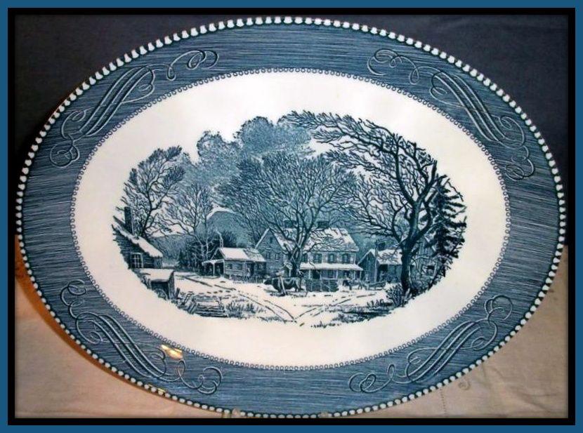 Royal China Currier & Ives Oval Serving Platter