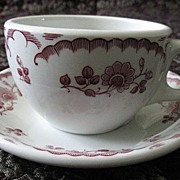 Caribe China Chardon Rose Cup & Saucer