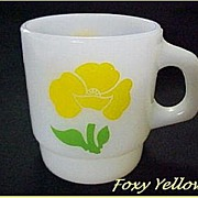 Fire King Foxy Flowers Yellow Mug