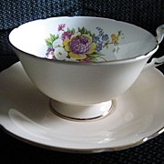 Paragon China Tea Cup and Saucer with Floral Spray of Clover and Tulip