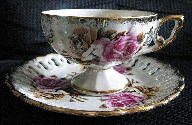 Royal Sealy Pink Rose Tea Cup and Reticulated Saucer