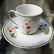 Denby Limoges Porcelain Demitasse Cup and Saucer Country Blossom