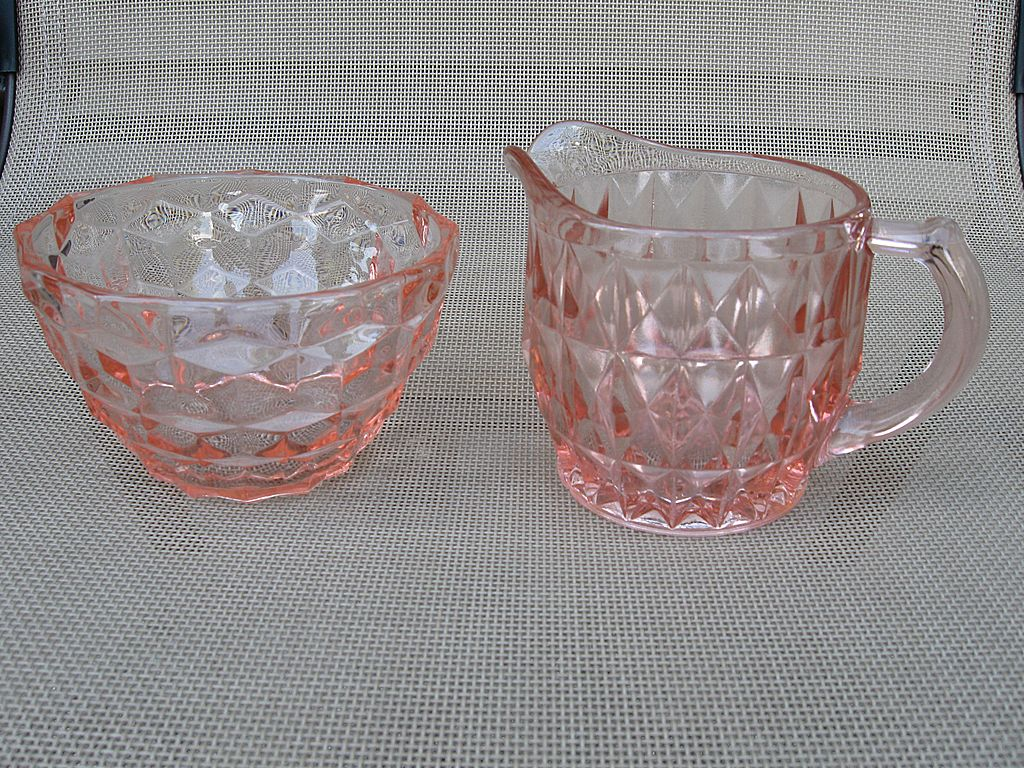 Indiana Glass Cubist Pink Creamer and Sugar